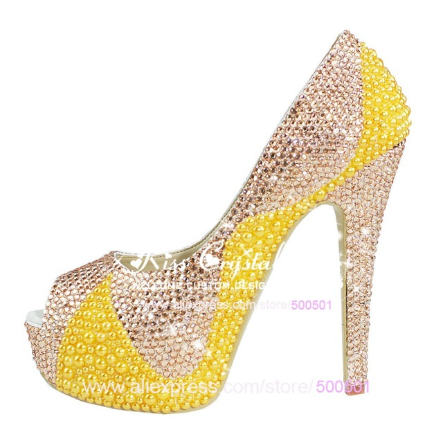 Hot Sale Shoes Shop Champagne Colored Wedding Shoes High Heel Mixed Yellow  Pearls Peep Toe Style