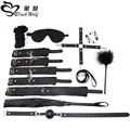 10 PARTS / LOT New leather bdsm bondage Handcuff Set Erotic Sex toys for couples female slave game SM Sexy handcuffs Erotic Toys
