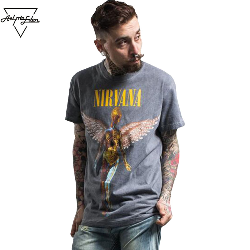Aelfric Eden Men's Heavy Metal NIRVANA Rock Band Personality Tshirt Do Old IN UTERO Print T Shirt Mens Hip Hop Casual Tee Shirts
