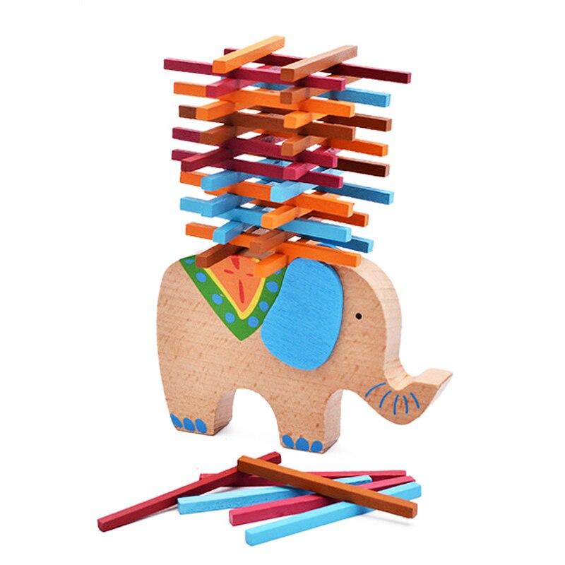 Милый слон Игрушки для маленьких детей деревянный Щупы для мангала Семейные комплекты игрушка для ребенка дети учатся образование Модель С...