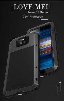Sony Cas De Téléphone | Love Mei Puissant Téléphone Fundas Pour Sony Xperia 10 Plus Xperia10 Résistant Aux Chocs Boîtier Silicone Métal Couvercle Verre Trempé