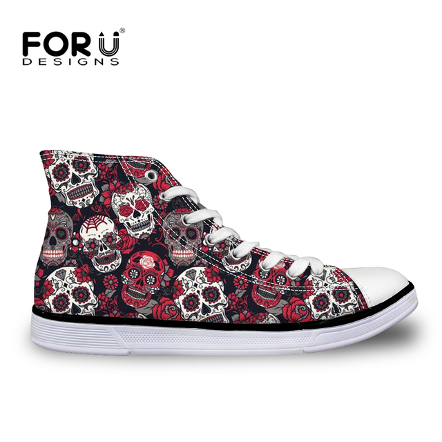 8d161fdd6f89 FORUDESIGNS Trendy Sugar Skulls Pattern Women Sneakers Summer Autumn High  Top Flats Vulcanize Shoes for Female Leisure Canvas