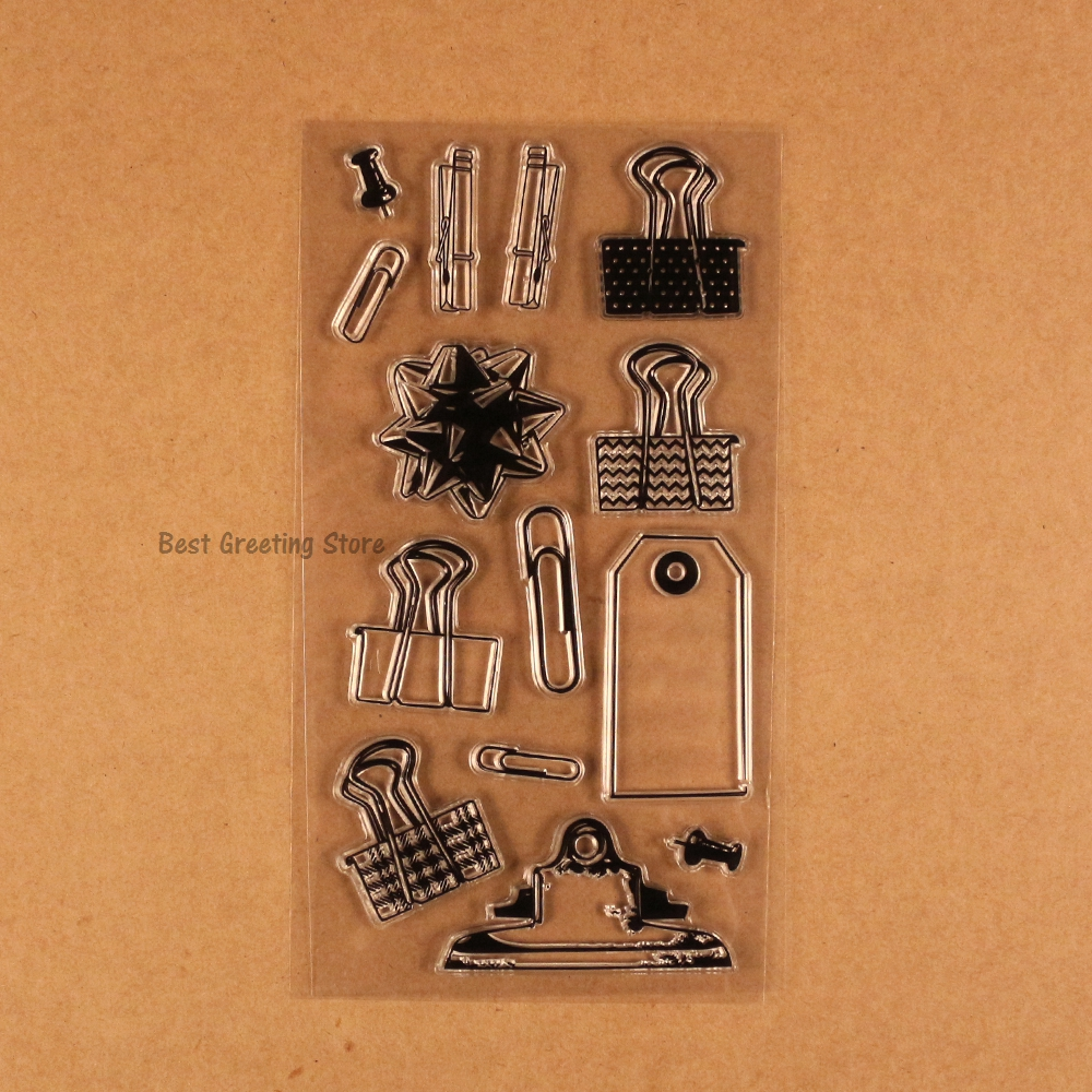 office supplies clear stamps silicone diy binder clips paper push pin diy  planner stamps