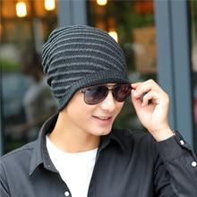 Oblique Stripes Brand Beanies Knit Men's Winter Hat Caps Skullies Bonnet Winter Hats For Men Women Beanie Fur Warm Knitted Hat