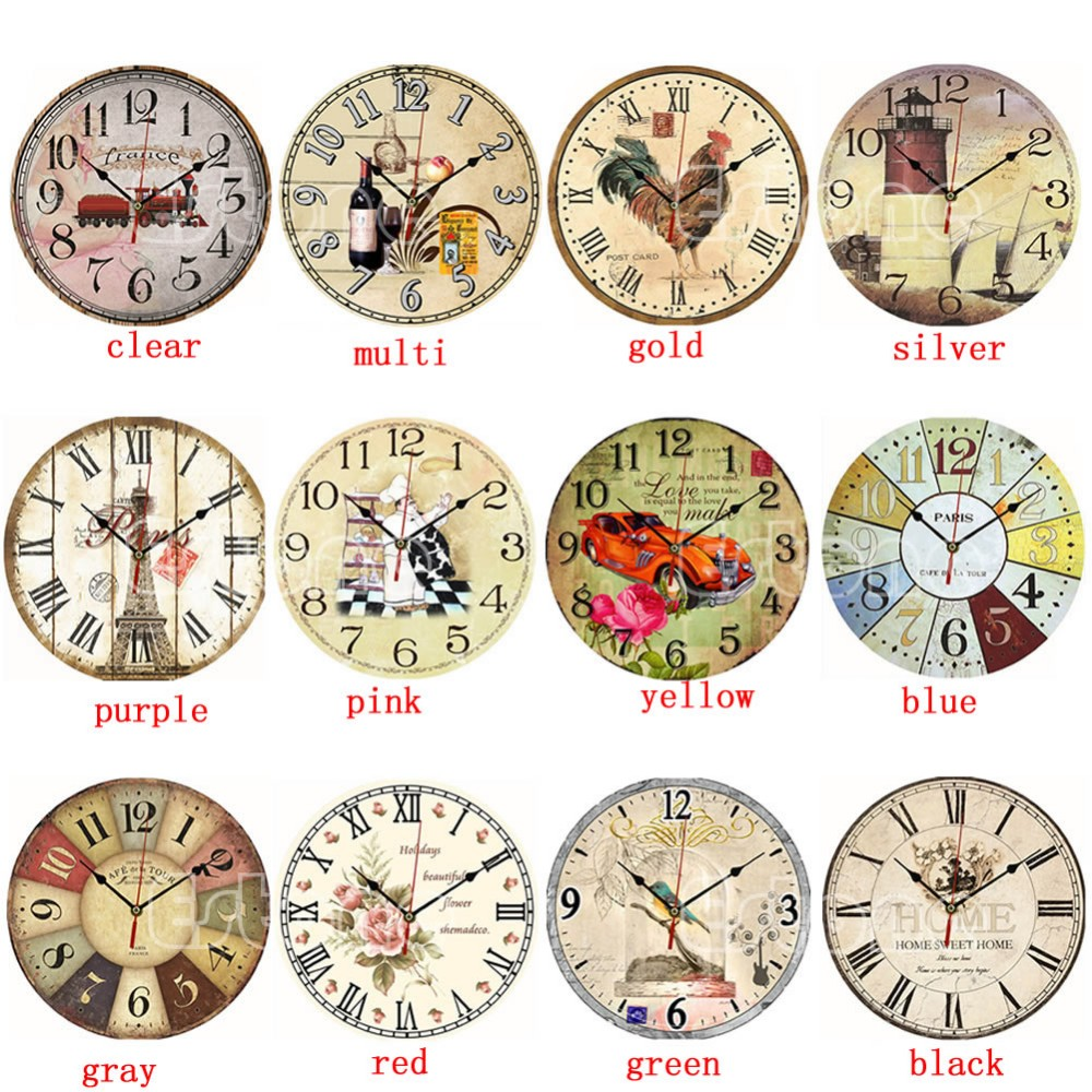 Free Shipping Vintage Wooden Wall Clock Large Shabby Chic Rustic ...