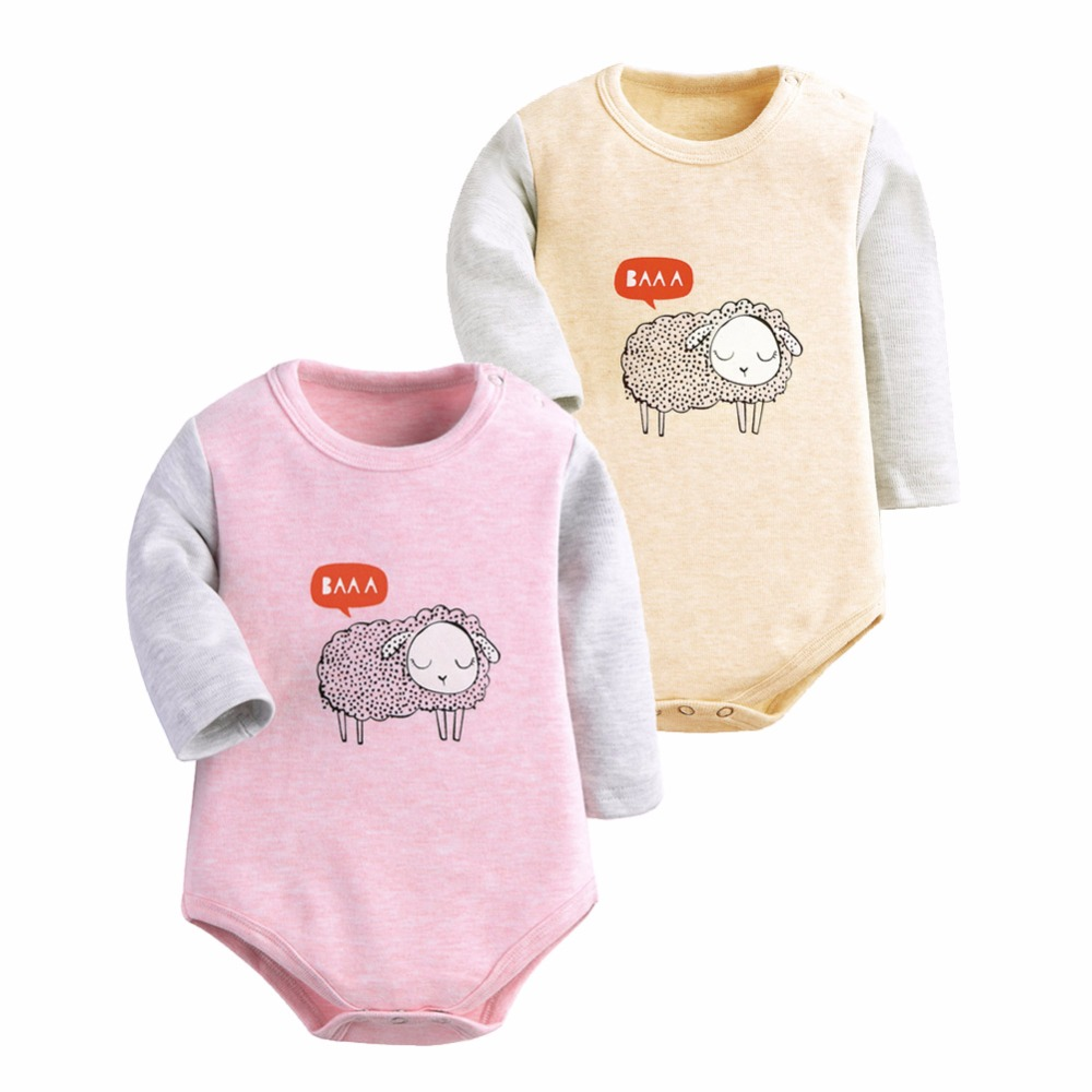 Baby Clothing 2 Pieces/lot Bodysuit Baby Long Sleeve Sheep Print Winter Baby Clothing Newborn Jumpsuits Bodysuit Baby sheer mesh bishop sleeve bodysuit