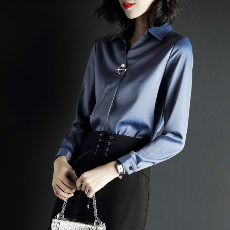 KMETRAM chemise femme Vintage en mousseline de soie Blouse printemps femmes hauts et chemisiers 2019 coréen bureau bleu chemises Camisas Mujer MY2583