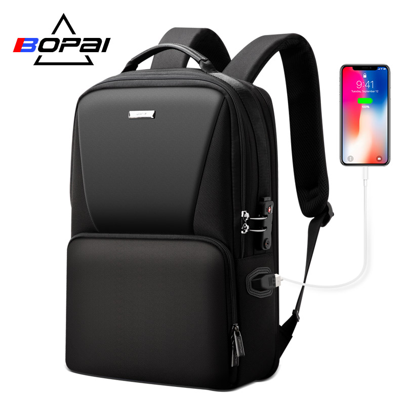 BOPAI Waterproof Black Backpack Computer Bag Increased Large Capacity Fit For 15 6 inches Laptop Backpack