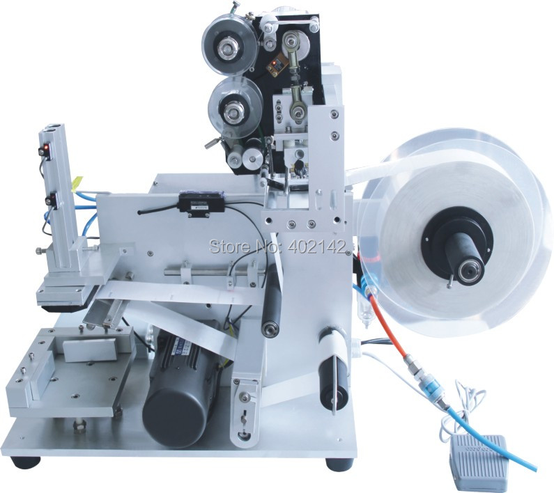 Semi auto flat surface bottle labeling machine with hot code printer, stickers labeling machine