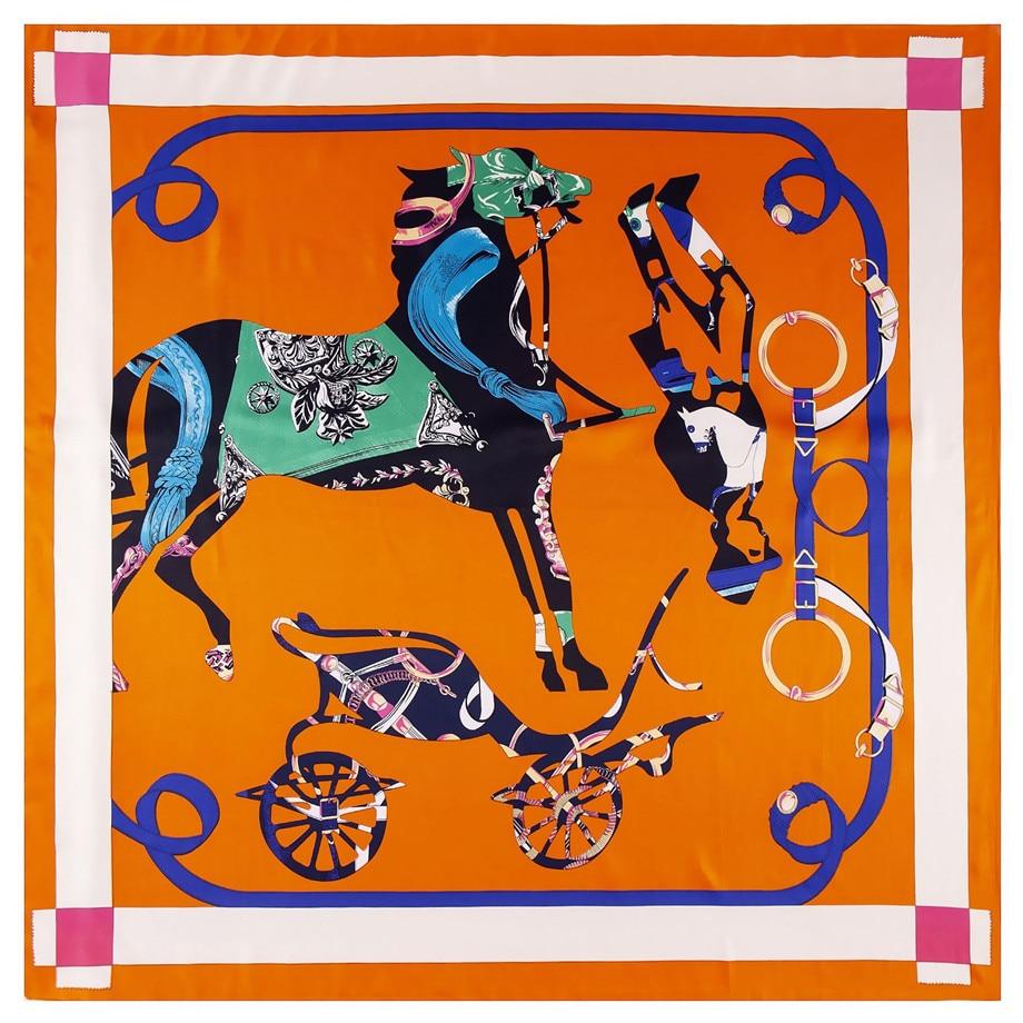 130cm Horse Twill 100% Silk Scarf Women Shawl Square Scarves  Kerchief For Ladies Handkerchief Brand Scarf Kerchief Bandanna