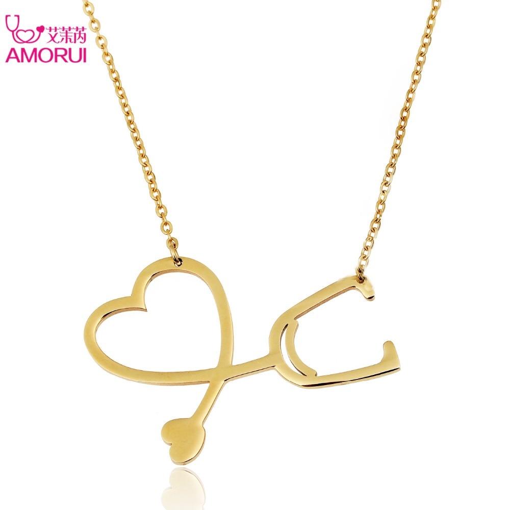 215422373aaf Amorui mujeres amor corazón Collares oro plata estetoscopio collar cadena  collar joyería mujeres Collares Colgantes collares Mujer