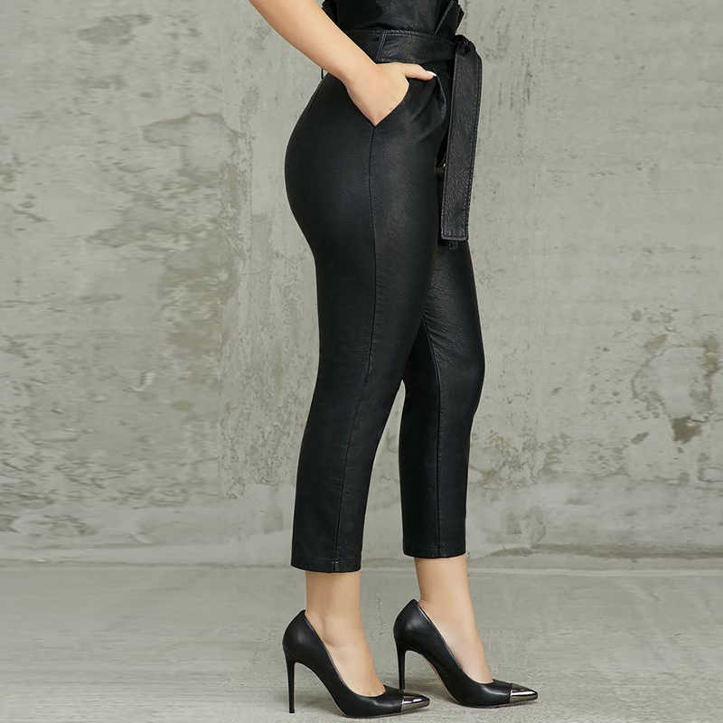 女性ハイウエスト Pu レザーパンツ紙袋ベルト包帯レースアップフリルズボン女性オフィスレディビジネス作業服プラスサイズ