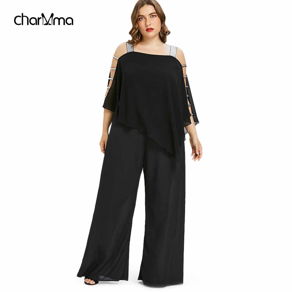 025936038dd2 Jumpsuits Plus Size 5XL Ladder Cut Out Overlay Jumpsuit Women Square Neck  Asymmetrical Loose Fitting Romper