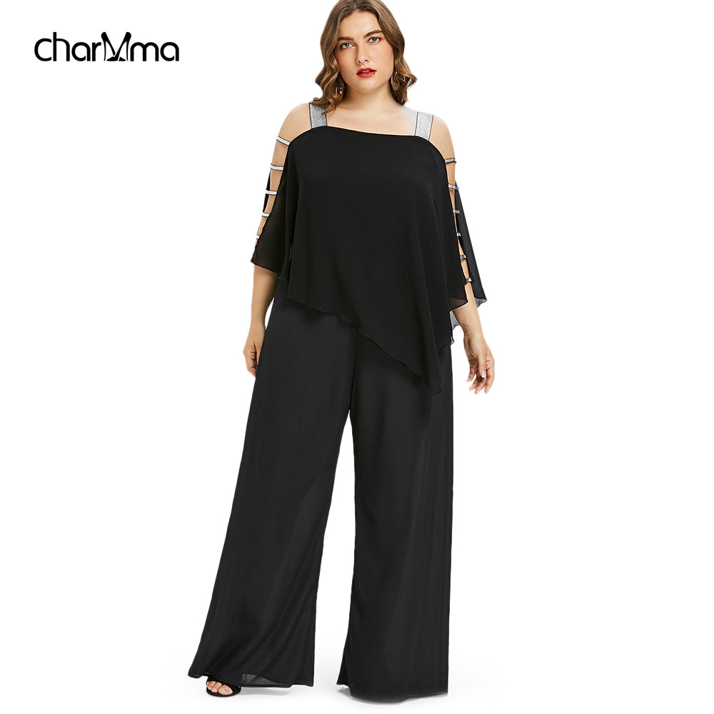 Jumpsuits   Plus Size 5XL Ladder Cut Out Overlay   Jumpsuit   Women Square Neck Asymmetrical Loose Fitting Romper Summer Lady overalls