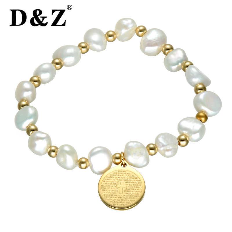 80dcbf6e0605 D   Z religioso Biblia encanto Irregula agua dulce perla Strand pulsera oro  Acero inoxidable Cruz