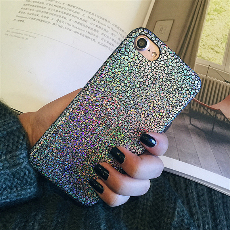 Luxury Sparkle Glitter Phone Case for iphone X 8 7 6 s Plus Ultra Thin Soft PU Leather Colorful Back Cover for iPhone 6 6S 7Plus
