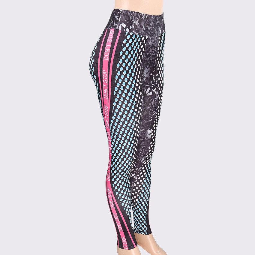 2018 New Honeycomb Letter Printed Women Fitness Leggings Skinny High Waist Elastic Push Up Legging Workout Pants Leggins  5