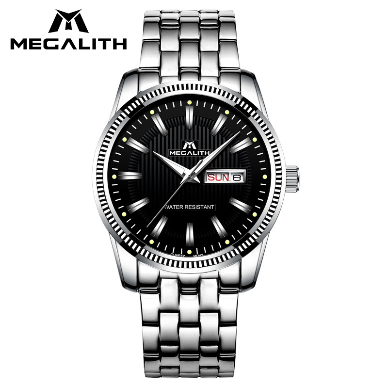 MEGALITH Waterproof Men Watch Luxury Top Brand Wrist Watch Gents Analogue Calendar Fashion Quartz Watches Mens Relogio Masculino megalith quartz watches mens waterproof chronograph calendar silver stainless steel wrist watch gents sport business men s watch