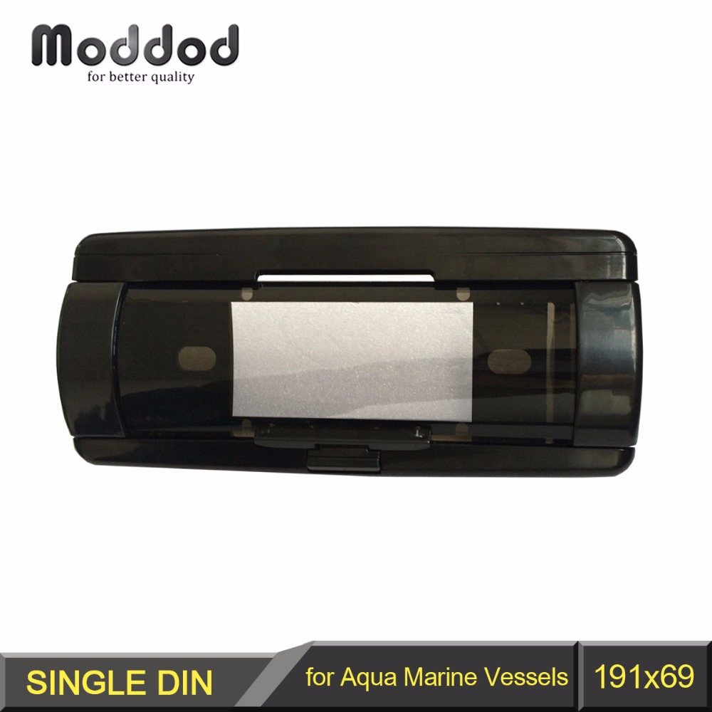 One Din Boat Radio Dash Kit for Aqua Marine Cover Up Automatic Door Vessels CD Waterproof Pocket Fascia Frame