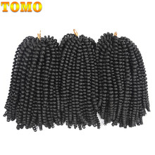 TOMO 30Roots Fluffy Spring Twist Hair Extensions Ombre Crochet Braids Synthetic Kanekalon Braiding Hair Black Brown Burgundy(China)