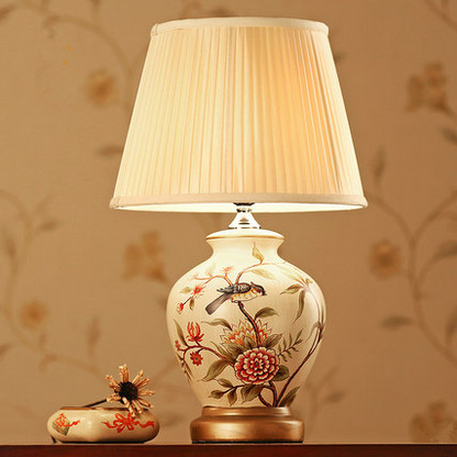 New chinese palace style handdrawing ceramic table lamps luxurious fabric art e27 led lamp for bookstorebedsidefoyer zltd071 in table lamps from lights