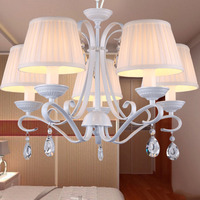 LED European Modern Crystal Chandelier 220v White Glass Chandeliers For The Bedroom E14 Fashion Iron Ceiling