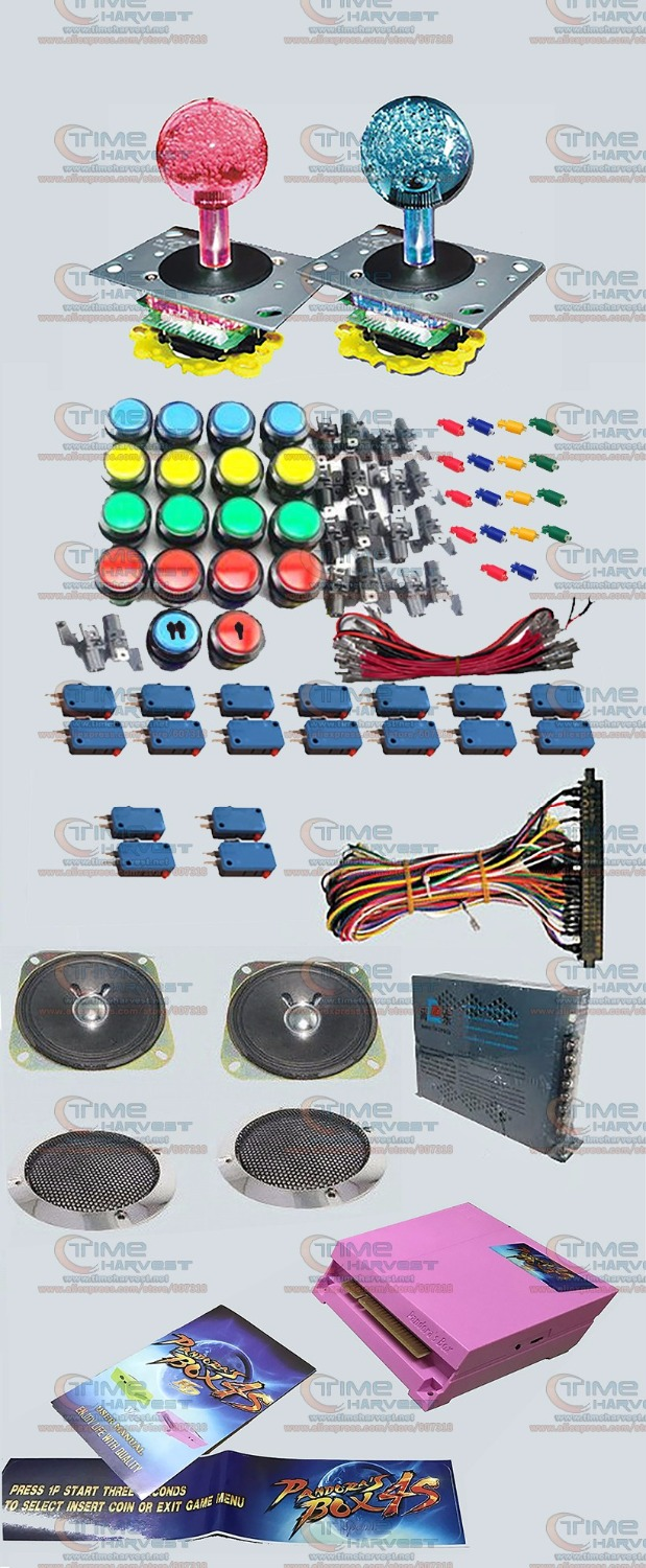 Arcade parts Bundles kit With 815 in 1 Pandora Box 4S LED illuminated Joystick illuminated black surround buttons Jamma Harness hdmi vga pandora box 4s arcade game board 815 in 1 with 28 pin harness for arcade mechine diy arcade kit
