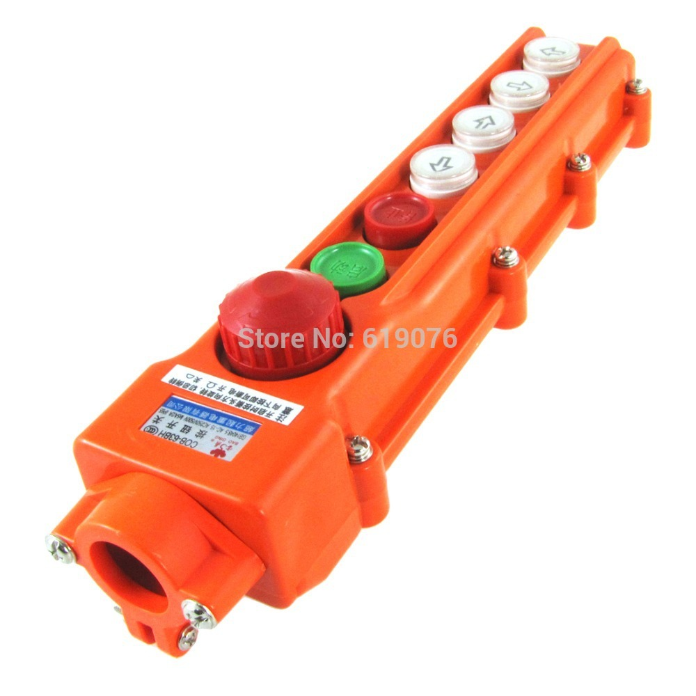 4 Ways Rainproof Hoist Crane Pendant Pushbutton Switch with Emergency Stop Knob [vk] av044746a200k switch pushbutton dpdt 6a 125v switch