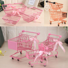 Ins Girl Pink iron shopping cart Mini collection basket Trolley Home table top cosmetics jewelry collection basket(China)