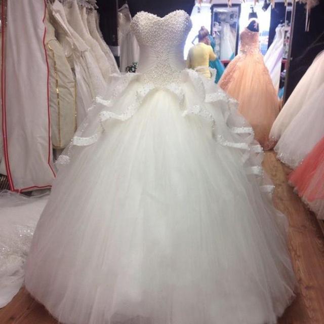 Vestido de baile de pêssego branco vestidos quinceanera 2017 beading pérola sweet 16 vestido querida espartilho tule pageant vestidos de festa formal