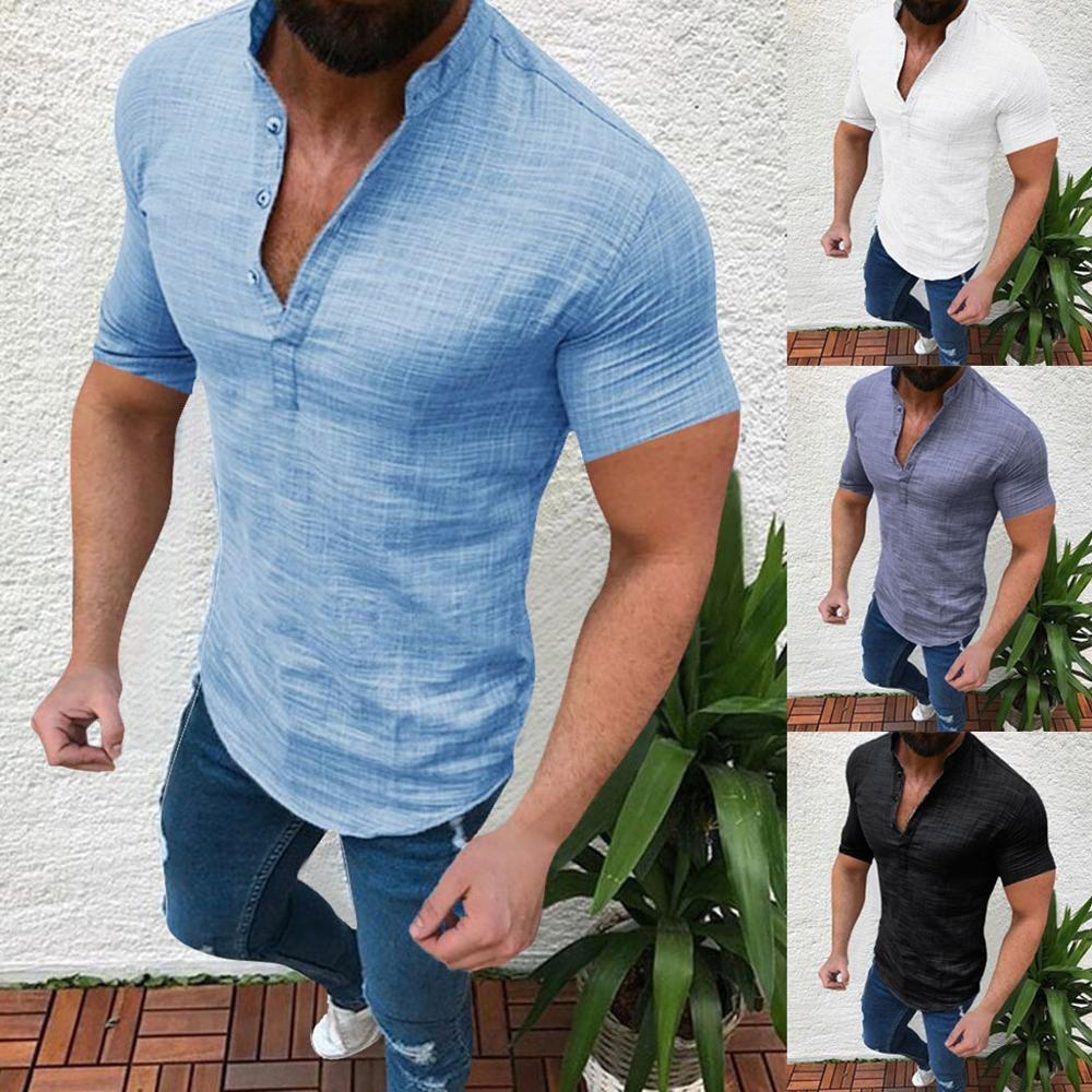 S-2XL Men's Casual Summer Blouse Cotton Linen Shirt Loose Slim V Neck Tops Short Sleeve Tee Handsome Shirt Drop Shipping C