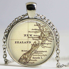 Free shipping Glass Dome New Zealand map necklace, New Zealand map pendant, New Zealand map jewelry gift for him her HZ1