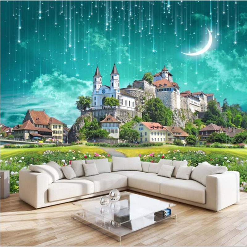 Personalized custom 3D photo wallpaper castle meteor shower 2 color 3D stereo TV sofa kids bedroom living room background wall large 3d stereo personalized custom space mural bedroom living room tv sofa backdrop 3d wallpaper wall covering natural woods