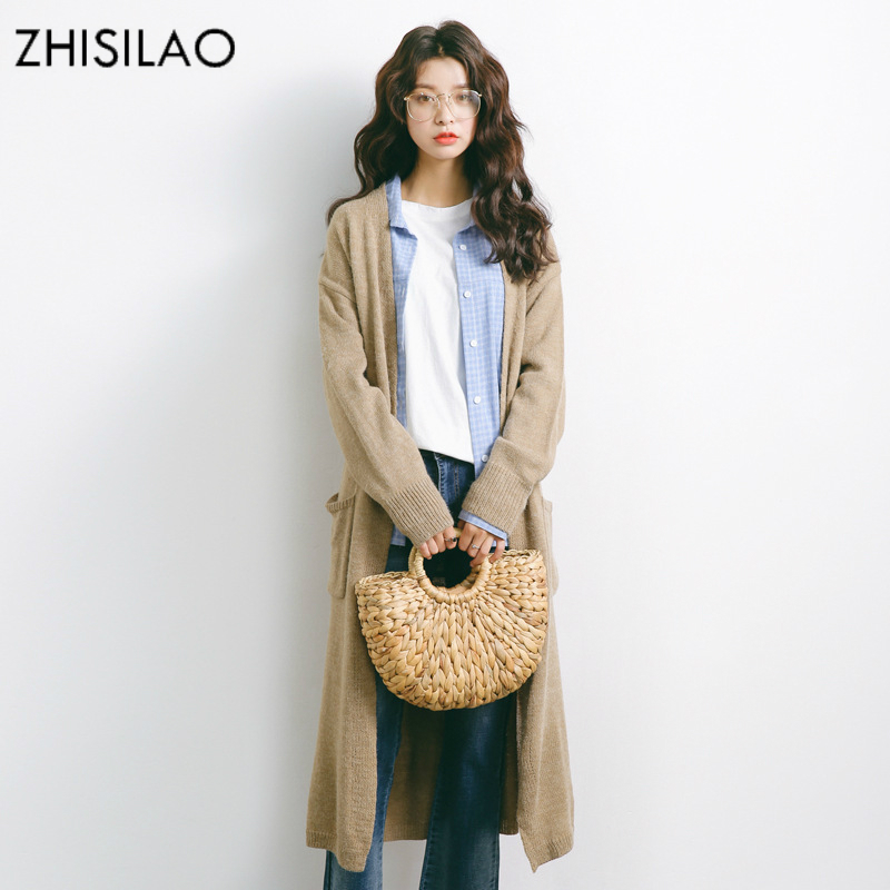 ZHISILAO 2018 Sweaters Woman Sweater Cardigan Woman Poncho Sweater Cashmere Pull Femme Hiver Solid Sweater Cape Long Cardigan