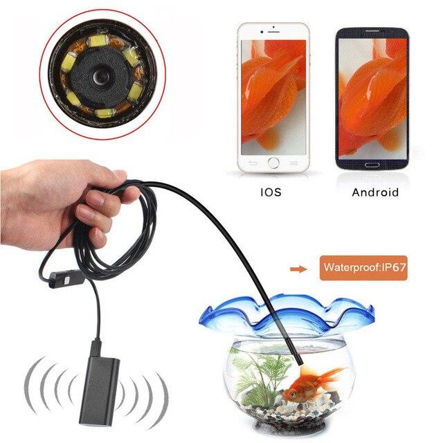 1.5 М HD 720 P Wireless Wifi Бороскоп Эндоскопа 8 мм 2-МЕГАПИКСЕЛЬНАЯ Водонепроницаемый Инспекции Змея Камеры для iPhone Android Телефон Tablet PC
