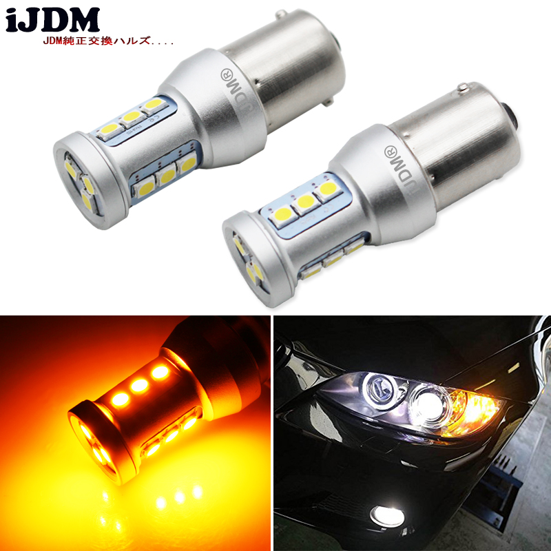iJDM Error Free Amber Yellow 2835 LED 15-SMD BAU15S 7507 PY21W 1156PY LED Bulbs For Front or Rear Turn Signal Lights,bau15s 12v 2pcs amber yellow error free led 1156 p21w led bulbs for car front or rear turn signal lights daytime running lights