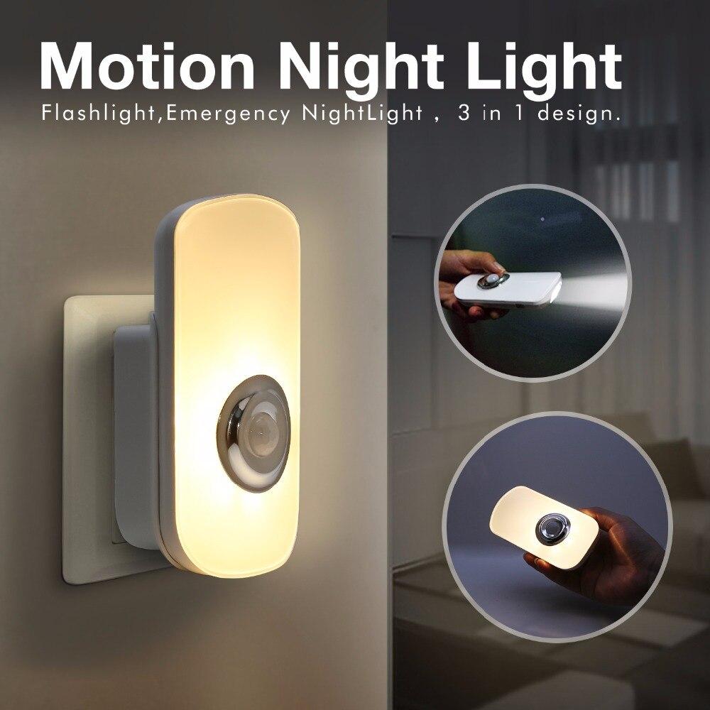 110 V 220 V US/UE Sans Fil Rechargeable PIR Motion Sensor LED Night Light LED lampe de Poche 3 en 1 conception pour D'urgence