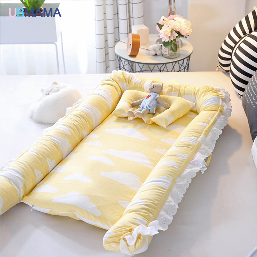 Lightweight Convenient Simple Cute Lace-up Foldable Pillow Portable Detachable Baby Bed Cotton Newborn Baby Soft Bed