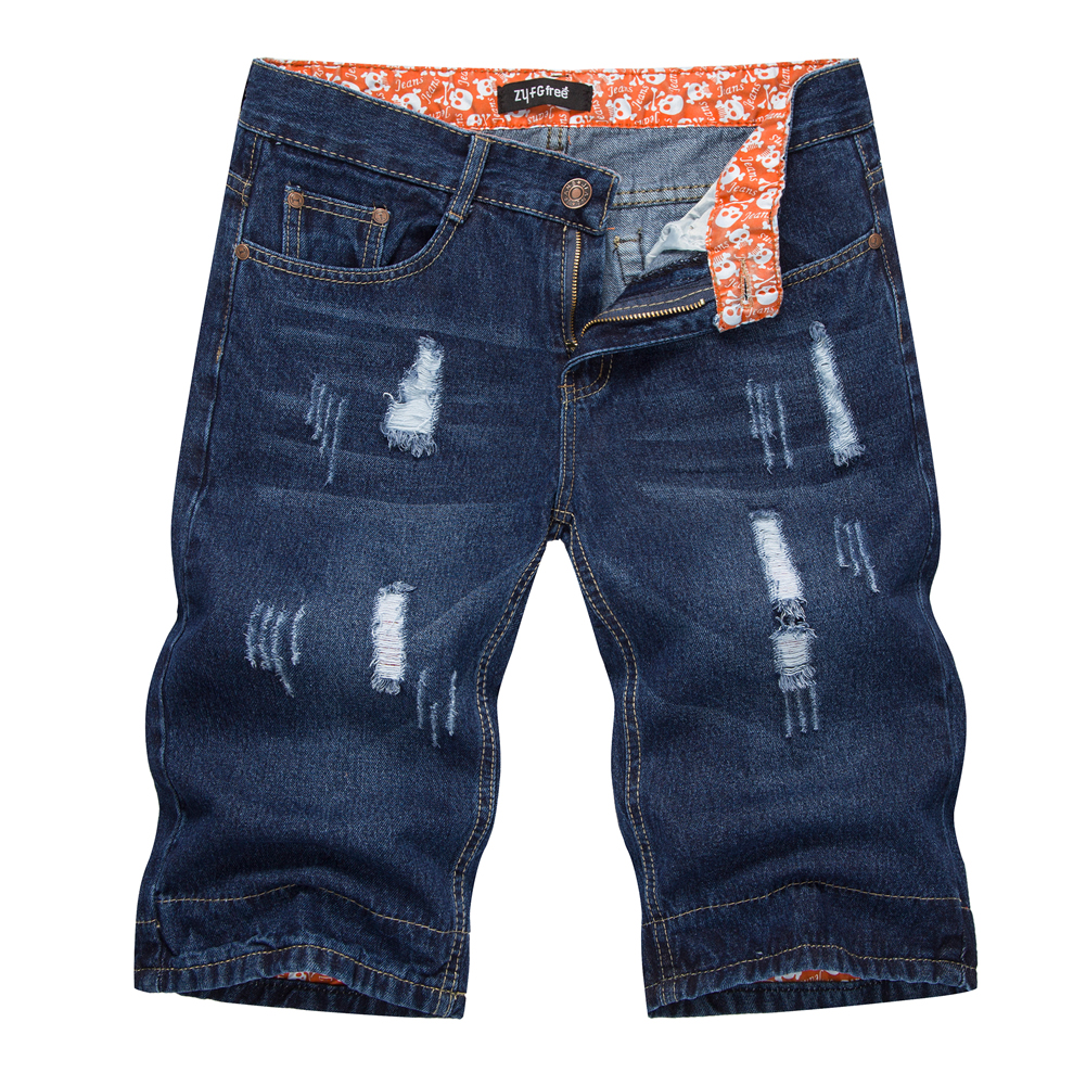 Men's New Summer Denim Shorts Pocket Style Casual Wear Worn Straight Tube Youth Five-minute Shorts