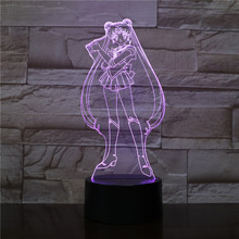 USB 3D LED Night Light Tsukino Usagi Figure Decoration Boys Child Kids Baby Gifts Japanese anime Sailor Moon Table Lamp Bedside twinkle dolly anime sailor moon tsukino usagi serenity luna black lady pvc action figure anime model kids toys doll 6cm 5pcs set