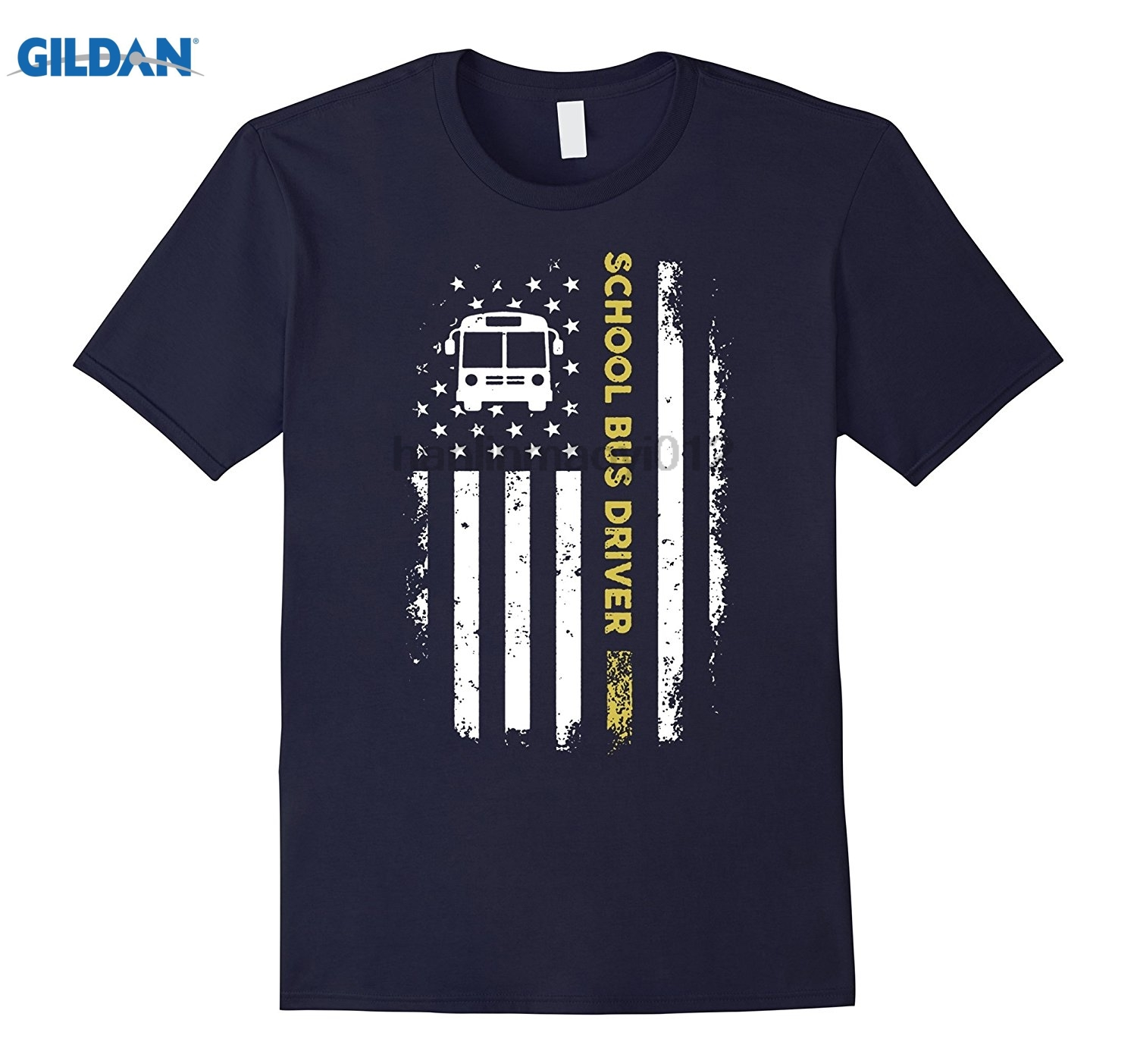 GILDAN SCHOOL BUS DRIVER USA FLAG T-SHIRT Dress female T-shirt