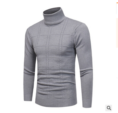 Sweater Pullover Turtleneck Slim-Fit Knit Long-Sleeve Classic Merino-Wool Men's Casual