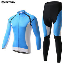 XINTOWN Men Long Cycling Jersey Set Mtb Maillot Outdoor Sportswear Cycling Clothing Roupa Ciclismo Blue Riding Clothing CC0389