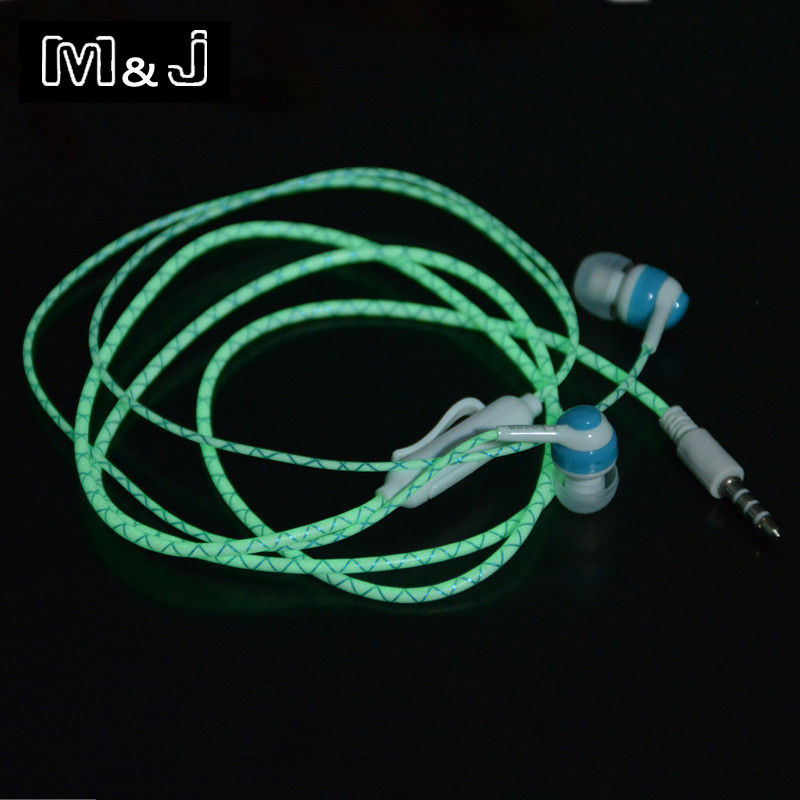HOT!!! Glow In The Dark Earphones Luminous Neon Headset Flash Light Glowing Earbuds With Microphone Night Lighting For Phone MP3 50pcs glow earphone luminous earbuds light metal zipper earphones glowing in the dark headset for xiaomi mi iphone glow night