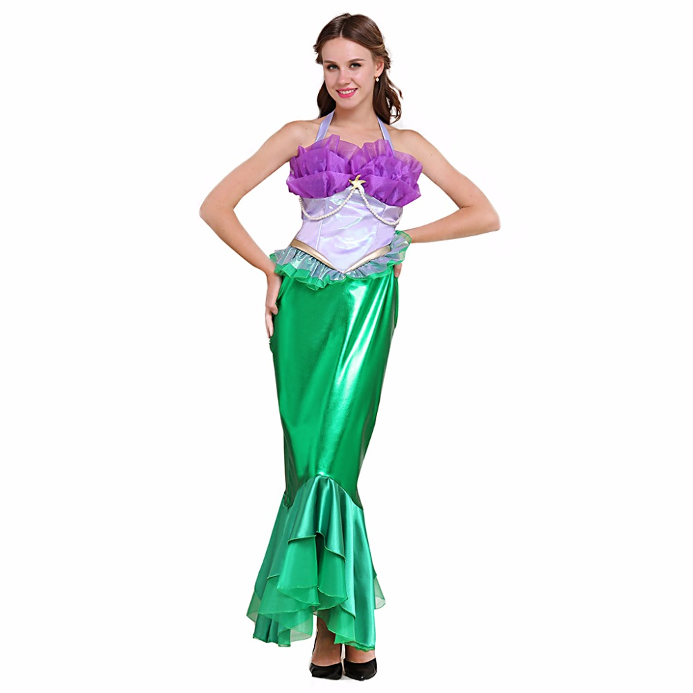 The Little Mermaid  Cosplay Dress Adult Women Fancy Carnival Halloween Cospaly Top & Skirt Custom Made L0516