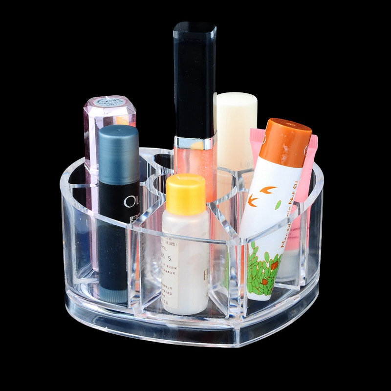 Transparent Plastic Heart Makeup Organizer Cosmetic Storage Box Acrylic Display Case For Jewelry Lipstick Holder Container