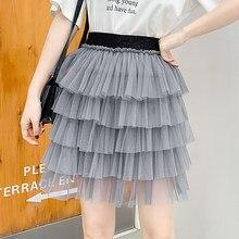 Verano de 2019 malla de tul Mini faldas de cintura alta de Corea Kawaii  faldas Streetwear 98a099ec5bf4