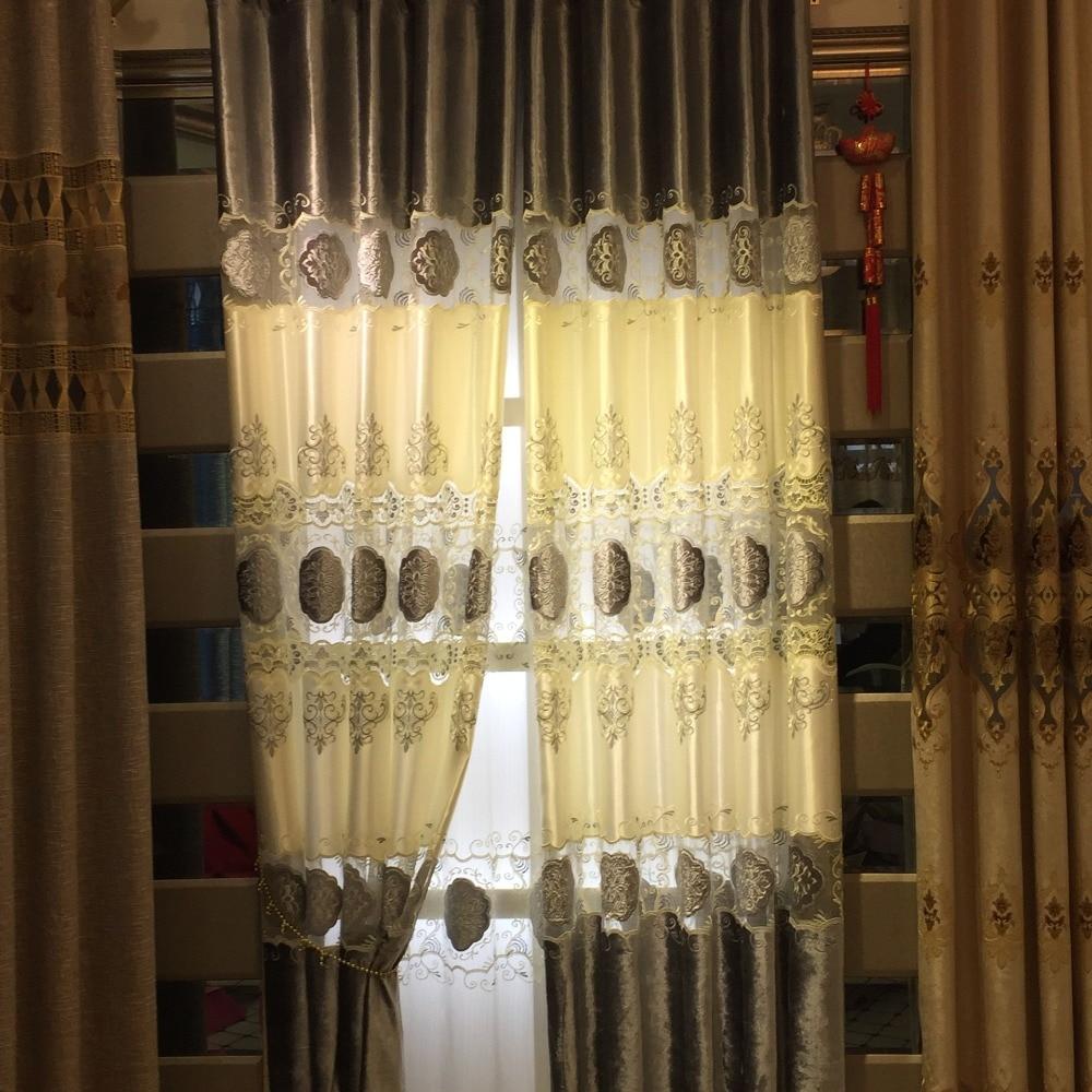 100% Polyester Avrupa Lüks Perdeleri nakış perde Salon / Mutfak - Ev Tekstili - Fotoğraf 5