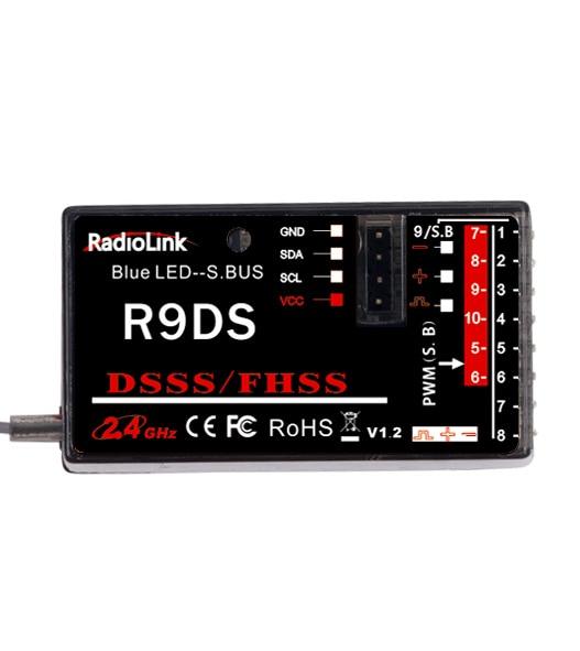 R9DS 2.4G 9CH DSSS Récepteur pour RadioLink AT9 AT10 Émetteur RC Hélicoptère Multirotor Support S-BUS