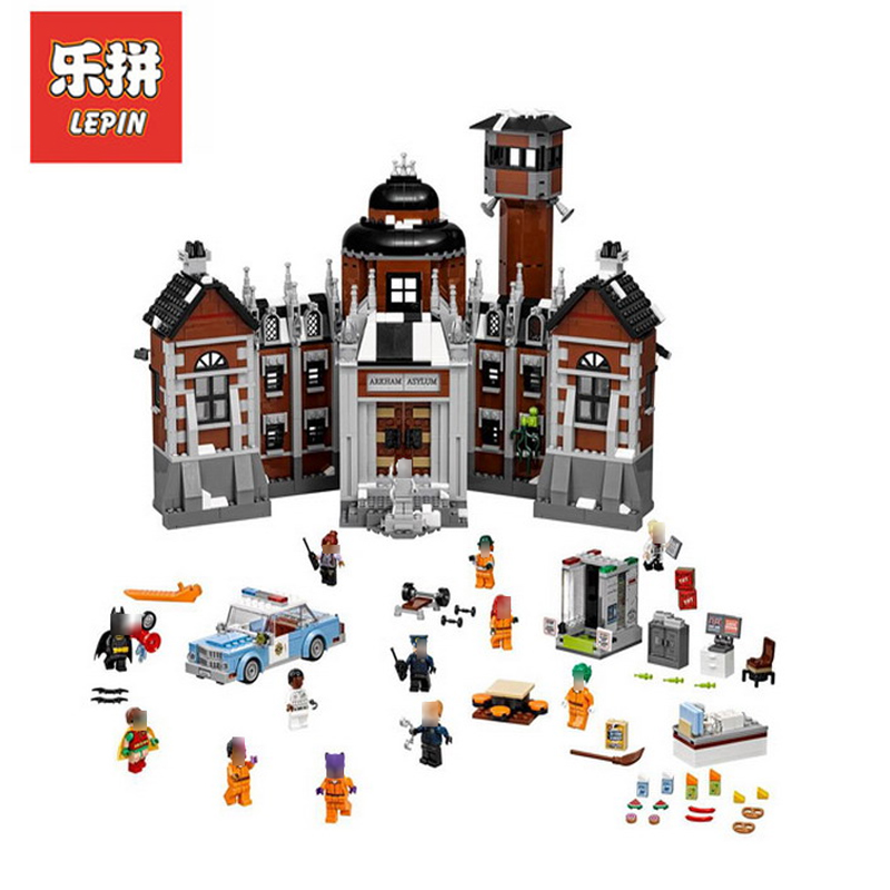 In Stock DHL Lepin Sets 07055 1628Pcs Super Hero Figures Batman Arkham Asylum Model Building Kits Blocks Bricks Toys Gift 70912 2018 dhl lepin 07055 1628pcs new batman movie series the arkham s lunatic asylum set building blocks bricks toys 70912